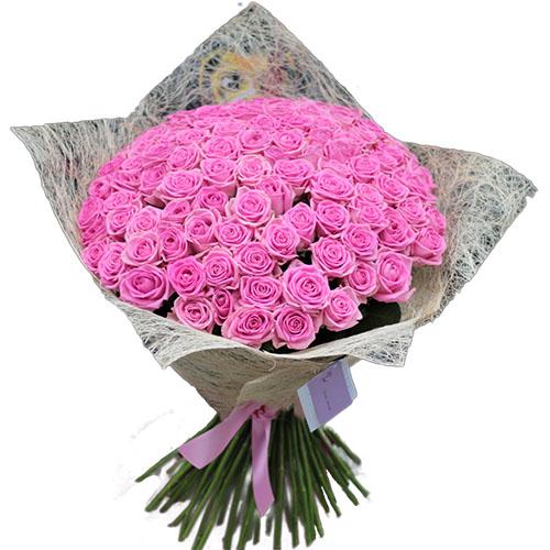 """фото букета 101 рожева троянда """"Аква"""""""