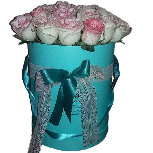 """букет 21 троянда """"Джумілія"""" в коробочці"""