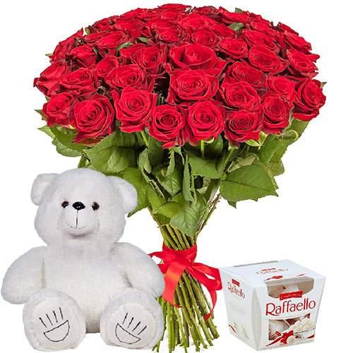 """gjlfheyjr 51 троянда, ведмедик і """"Raffaello"""""""
