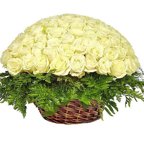 букет Кошик 101 біла троянда
