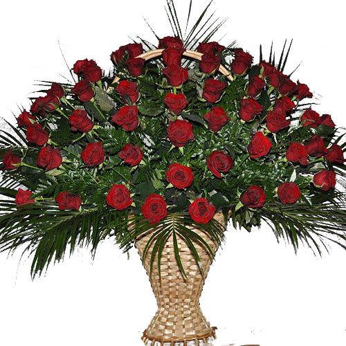 Живі похоронні квіти 60 троянд