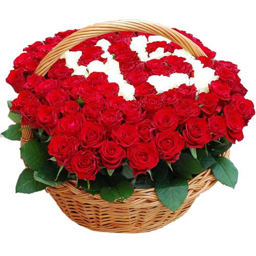букет Троянди з числами у кошику