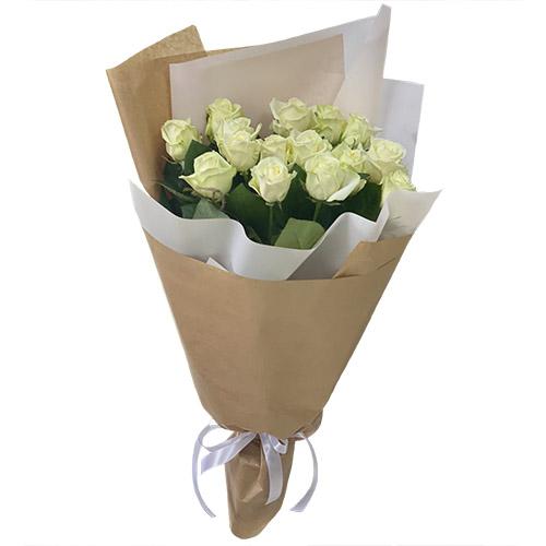 букет 15 білих троянд